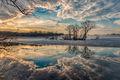 Clouds, Ice, MA, Spring, Trees, Upper Artichoke Reservoir, New England, Fog