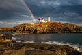 Maine, Nubble Light,Maine coast, New England, Lighthouse, Rainbow,Rainbows