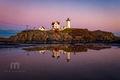 Maine, Nubble Light, maine, New England, coast, lighthouse, magenta, sky