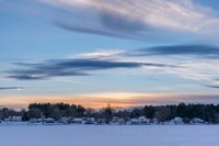 Pentucket Pond,Sunset, Georgetown, MA, New England, cold, Winter, Snow Storm
