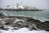 Snow, snow storm, Nubble Light, Maine, Coast, New England