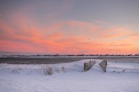 Snow, sunset, New England, Salisbury MA, Coast, sky