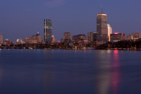 Boston, MA, Cambridge, skyline, night, Charles River, Massachusetts, New England