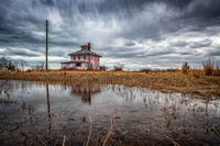Pink House, New England, plum island, massachusetts, clouds, storm clouds, rain,