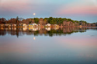 pond, pentucket, new england, moon, moonset, pink