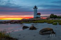 Annisquam Light, Sunset,lighthouse, new England, cape ann, beach