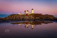 Maine, Nubble Light, maine, New England, coast, lighthouse, magenta, sky
