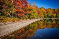 Camp, Schoodic lake, Maine, New England, reflection, foliage