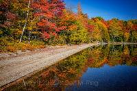 Camp, Schoodic lake, Maine, New England, reflection, foliage