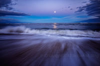 Plum Island, newburyport, MA, New England, coast, atlantic, moon, purple sky, long exposure