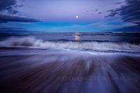 Plum Island, newburyport, MA, New England, coast, atlantic, moon, purple sky, long exposure