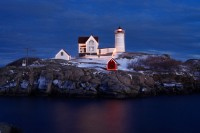 Nubble Lighthouse, York, Maine, Nubble, Lighthouse, Christmas, Dusk, Christmas Lights, New England