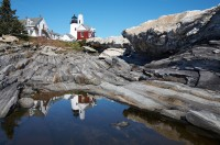 Pemaquid, Pemaquid Point Lighthouse, Pemaquid Point, Lighthouse, reflection, Bristol, Maine, New England
