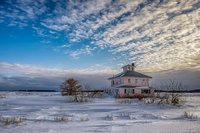 Pink House In Winter