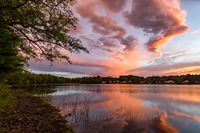 Storms, pond, New England, clouds, red