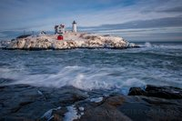 Nubble Light,Snow, coast, new england, lighthouse
