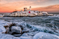 Nubble Light,Snow, lighthouse, new england, coast