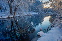 Snow, sunrise, byfield, MA, New England, scenic