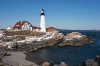 Winter, Portland, Portland Head Light, Maine, Lighthouse, New England, Coast
