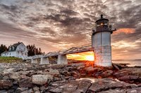 Marshall Point Lighthouse, Maine, Port Clyde, Coast, Sunrise, New England