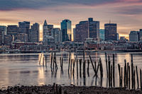 Skyline, sunset, Boston, Massachusetts, New England, Landscape