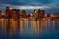 boston, skyline, new england, reflections, sky, sunset, harbor