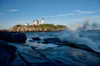 New England, Maine, Coast, Waves, Lighthouse,