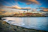 Nubble Light, ocean, Lighthouse, Nubble, New England, Scenic, clouds