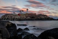 Nubble Light, New England, Maine, Sky, Clouds, Waves