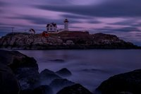 Nubble Light, lighthouse, New England, Maine, Sunset, Purple, Coast