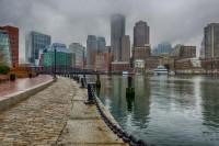 Boston Skyline In Fog