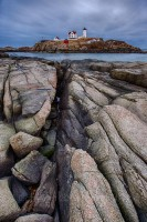 new england, lighhouse, nubble light, coast, rocks, scenic, ocean, clouds, maine, rocks