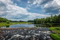 Maine, New England, pond, waterfalls,clouds, big sky