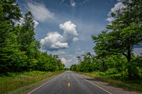 Maine, blue sky, down the road, new england, road, yellow line