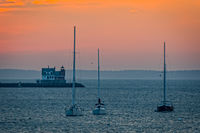 Maine, Rockland, harbor, lighthouse, light, sky, sunrise, mid coast
