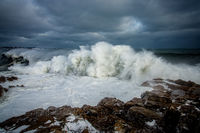 Gloucester, MA, New England, ocean, waves, sky, clouds