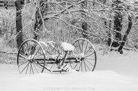 Old Hay Rake In Snow