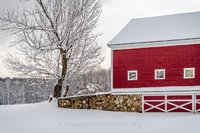 red barn, snow, photograph, new england