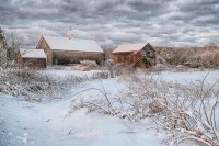 new england, barns, snow, scene, clouds, ma, newbury, ma