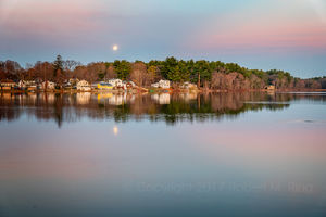 Pink Moonset Over Pentucket Pond