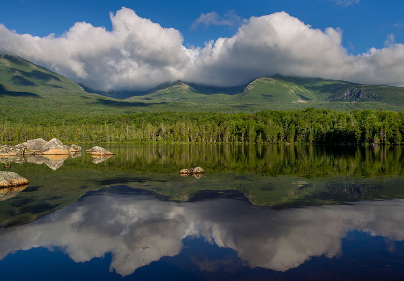 sky, clouds, mountain, pond,, photo