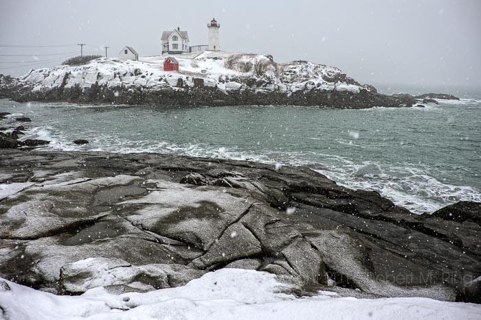 Snow, snow storm, Nubble Light, Maine, Coast, New England, photo