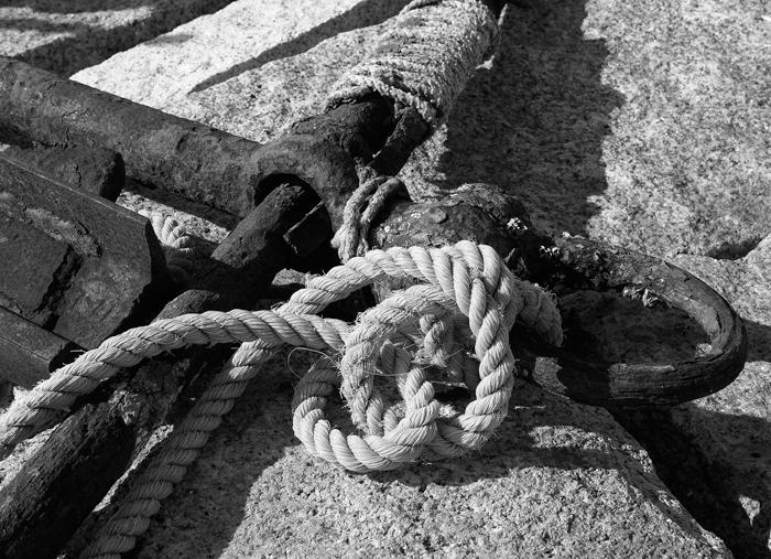 Anchor, Rope, Black & White, Rockport, photo