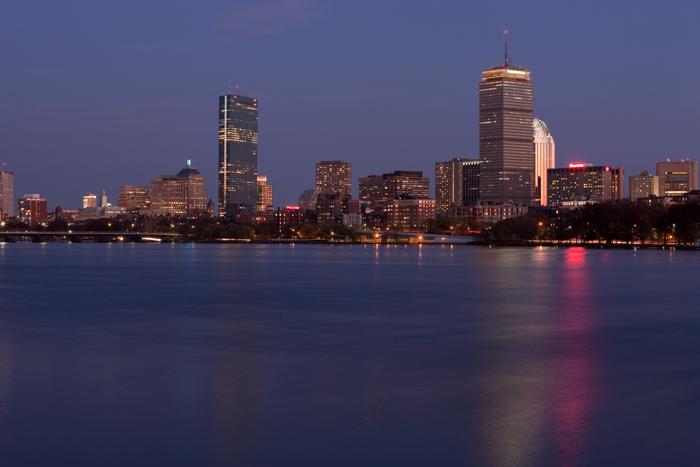Boston, MA, Cambridge, skyline, night, Charles River, Massachusetts, New England, photo