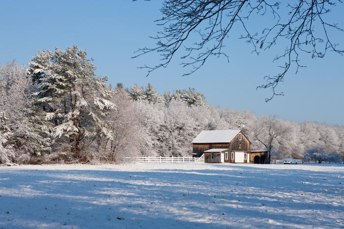 Early morning after a snow storm in Boxford, MA