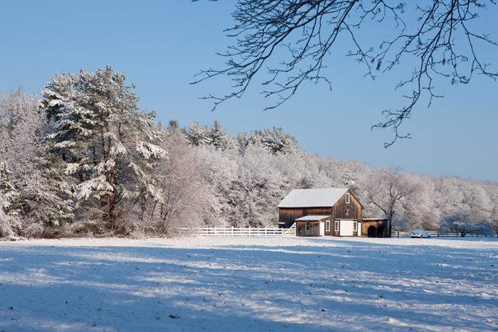 Boxford, MA, Barn, snow, Massachusetts, New England, photo