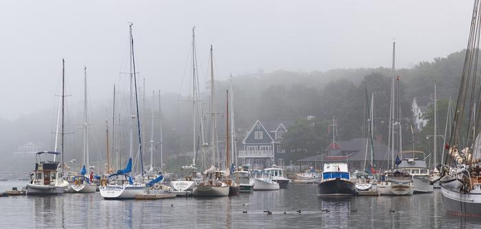 Camden, Maine, Fog, Harbor, Sail Boats, New England, Panorama, photo