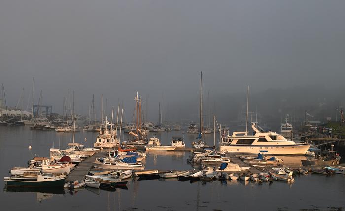 Camden, Maine, Harbor, Sunset, Boats, Fog, Sun, New England, photo