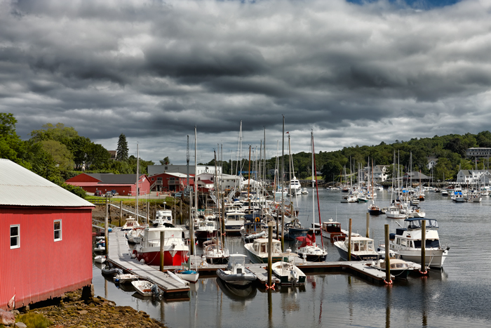 Clouds, Cloudy, Camden, Maine, Harbor, Boats, New England, photo