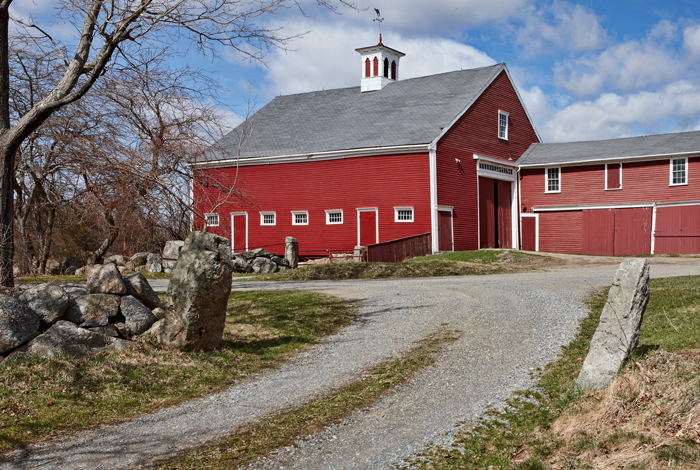 Cogswells red barn in spring essex ma robert m ring for New england barn homes